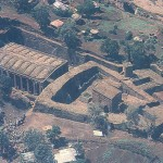 Aerial view of the rock-hewn churches of Lalibela, Ethiopia